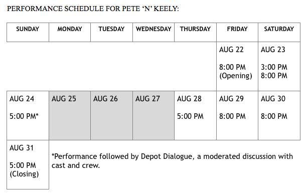 """""""Pete 'N' Keely"""" schedule"""