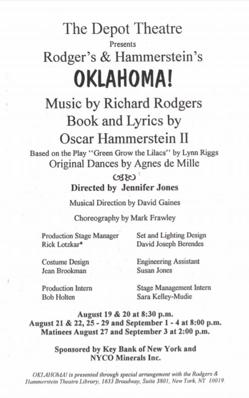The Depot Theatre | The Depot Theatre 1994: Oklahoma!