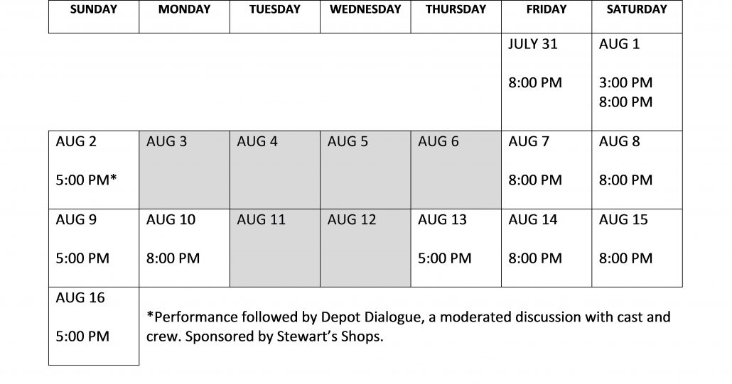 NYW Performance Calendar